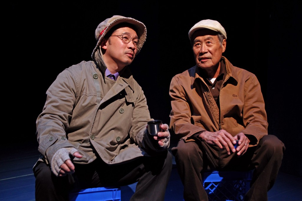 l-r, Eddie Mui and Sab Shimono in tokyo fish story at SCR.