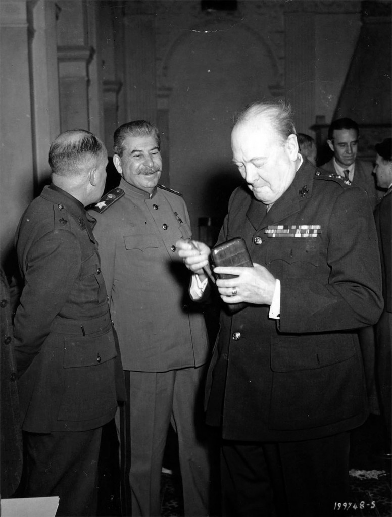 Winston Churchill and Josef Stalin