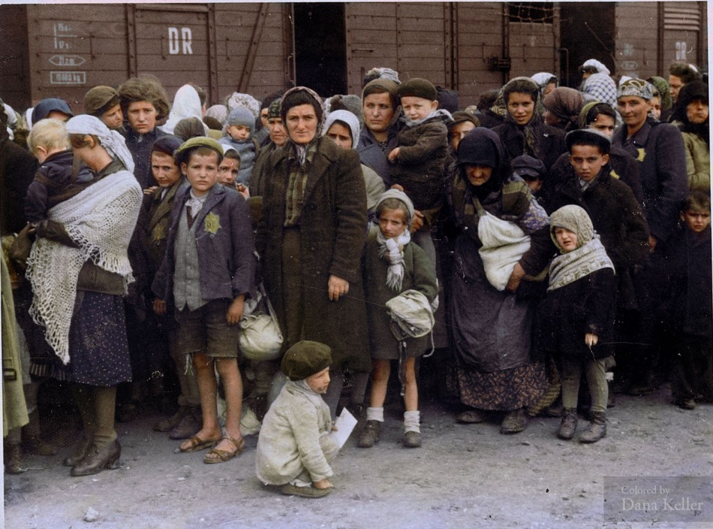 Women and children arrive at Auschwitz-Birkenau