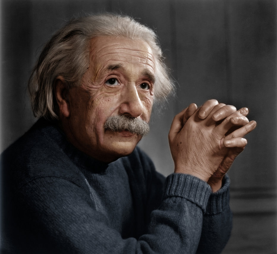 Colorized photo of Albert Einstein