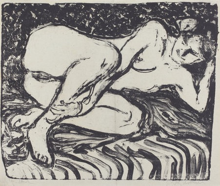 Ernst Ludwig Kirchner, Reclining Nude (Liegender Akt), German, 1880 - 1938, 1907-1908, lithograph on wove paper, Ruth and Jacob Kainen Collection