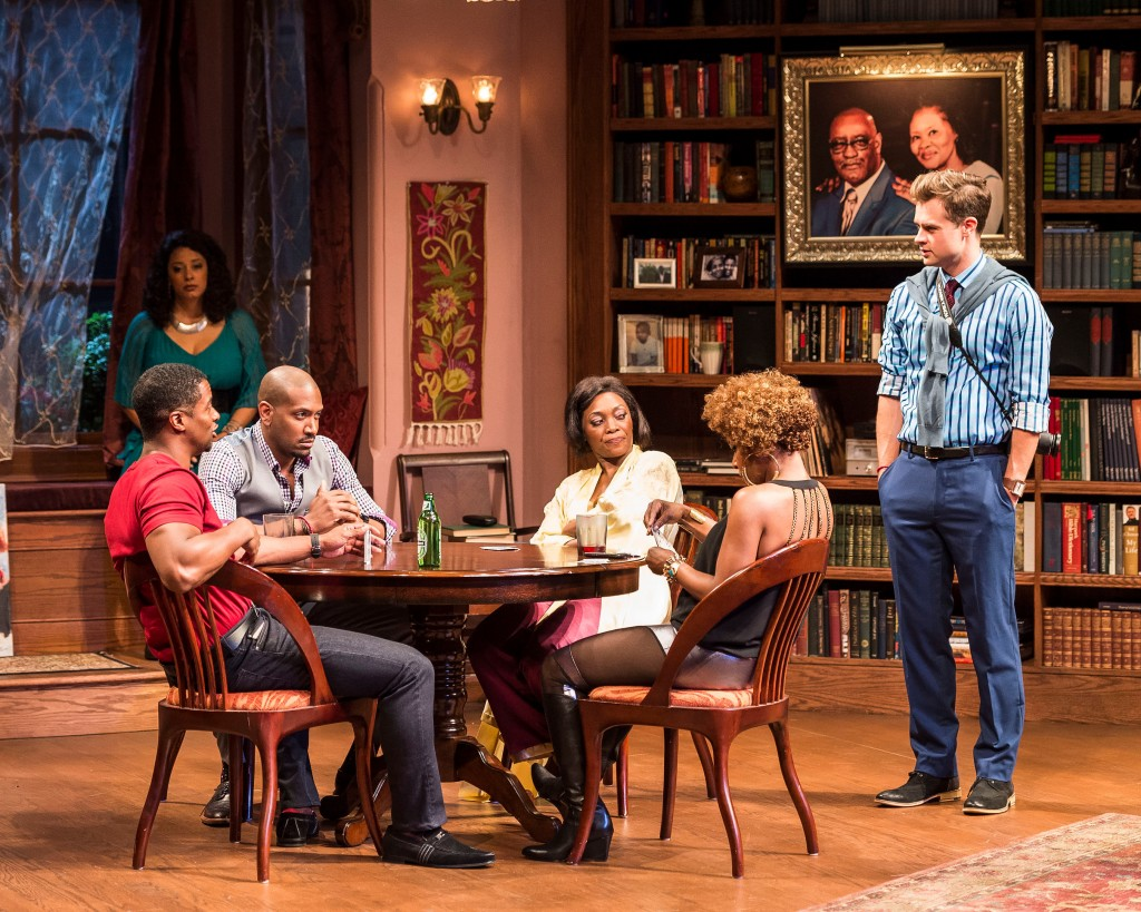 "l-r, Kamal Angelo Bolden, Cynda Williams (background), Bryan Terrell Clark, Shanésia Davis, J. Nicole Brooks and Mark Jude Sullivan in ""Immediate Family,"""