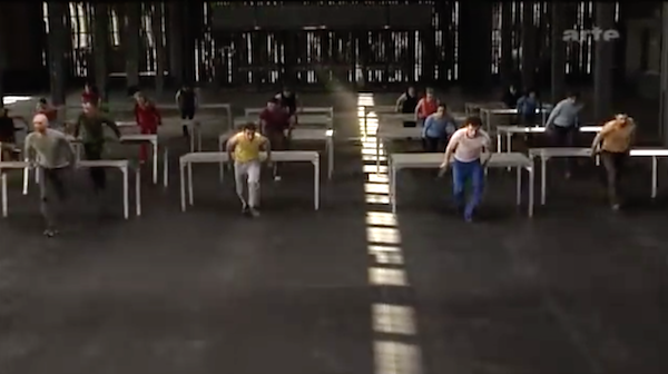 """Dancers running with tables in William Forsythe & Thierry de Mey's  """"One Flat Thing"""""""