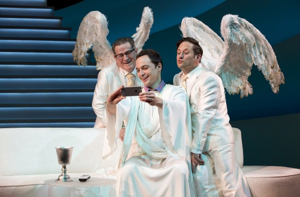 Tim Kazurinsky, Jim Parsons, and Christopher Fitzgerald in An Act of God Credit: Jeremy Daniel