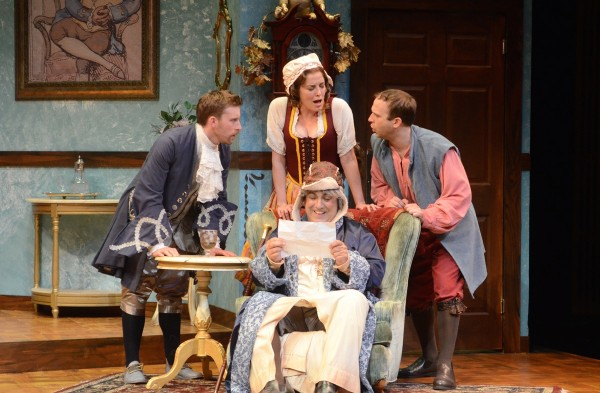 l-r, WallaceAngus Bruce, Paige Lindsey White (standing), Matthew Henerson & Adam J. Smith in The Heir Apparent at ICT.
