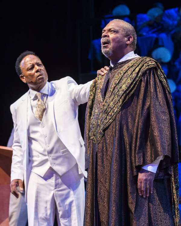 William Allen Young, left, as Pastor Theseus and Roger Robinson as the speaking Oedipus in The Gospel at Colonus.