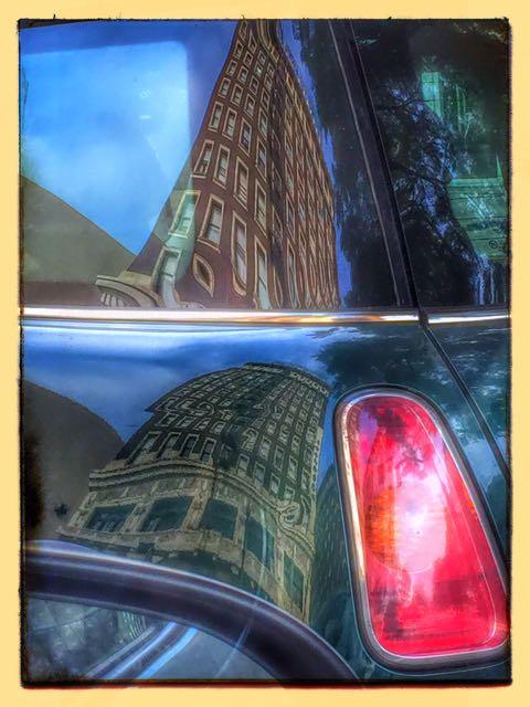 Two Views Same Building Van's Back Window & Door
