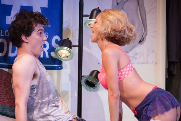 Sarah Scott surprises Nick Marini in Luka's Room at Rogue Machine.