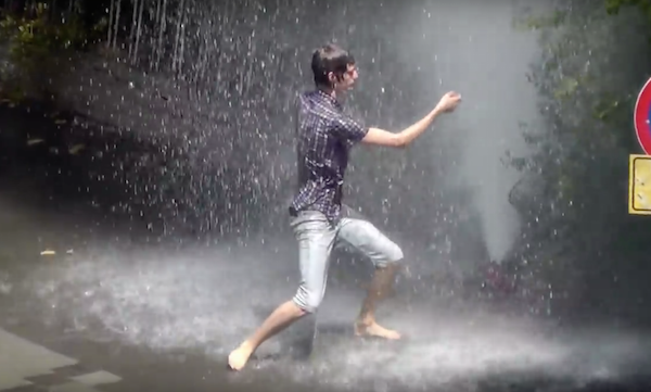 Spur of the moment dance under broken fire hydrant in Israel