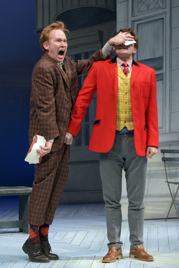 Dan Donohue and William Connell in a tricky moment in One Man, Two Guvnors at SCR.