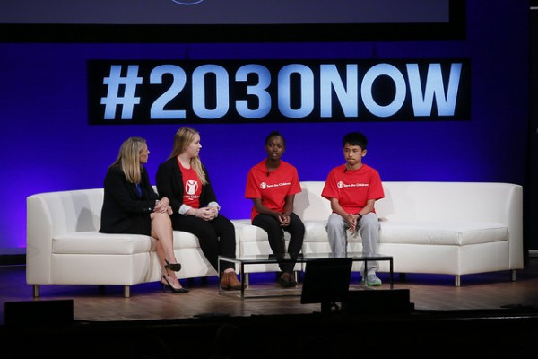 Carolyn Miles, Zheng Booing, Precious Banda, Chloe McGill discussing the role of children and the global goals. Photo Credit:  Stuart Ramson / United Nations Foundation