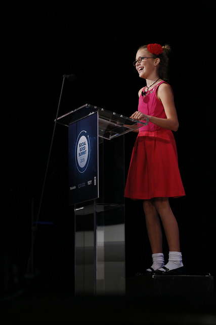 11-year old Vivienne Harr speaking at the 2015 Social Good Summit about STAND and Putting Your Passion to Action. Photo Credit:  Stuart Ramson / United Nations Foundation