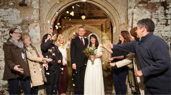 "Doc Martin (Martin Clunes) and Louisa (Caroline Catz) tie the knot in this quirky ""dramedy, "" one of the highest rated series on public television. Doc Martin, from APT Syndication"