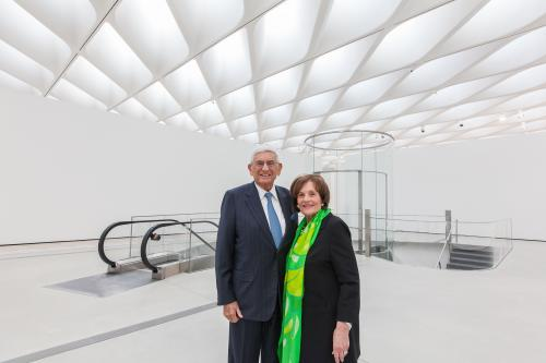 Co-founders of The Broad, Eli and Edythe Broad, in the third-floor galleries; photo by Elizabeth Daniels, courtesy of The Broad.