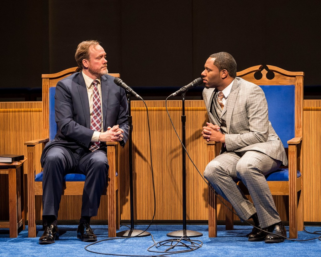 "L-R: Andrew Garman and Larry Powell in ""The Christians"" at the Center Theatre Group/Mark Taper Forum."