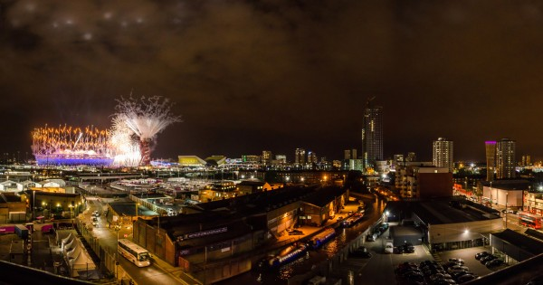 Fireworks at Olympic stadium and The Orbit during London Olympics opening ceremony (2012-07-27)
