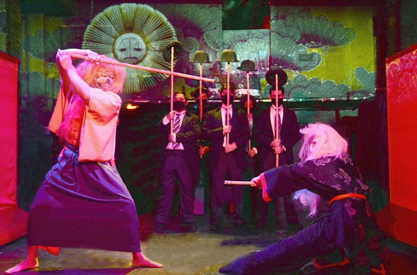 The Garage ensemble in a scene from Robert allan Ackerman's Blood. Photo by Ed Krieger.