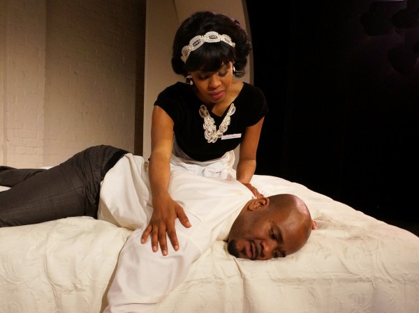 Danielle Truitt and Larry Bates in The Mountaintop at The Matrix Theatre. Photo by: I C Rapoport.
