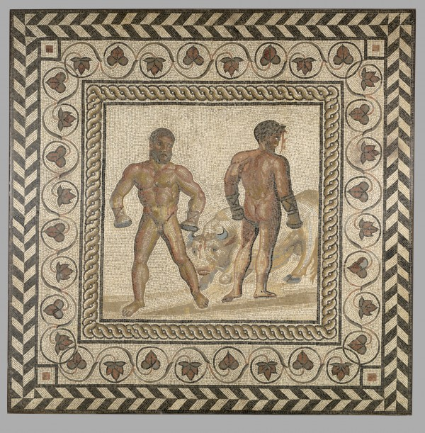 Mosaic Floor with a Boxing Scene; Unknown; Villelaure, France; about 175; Stone and glass tesserae; 208 × 208 × 8 cm, 498.9522 kg (81 7/8 × 81 7/8 × 3 1/8 in., 1099.99 lb.); 71.AH.106