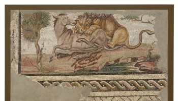 73.AH.75: Mosaic of a Lion Attacking an Onager