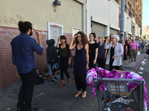 Urban Echoes in procession down San Pedro