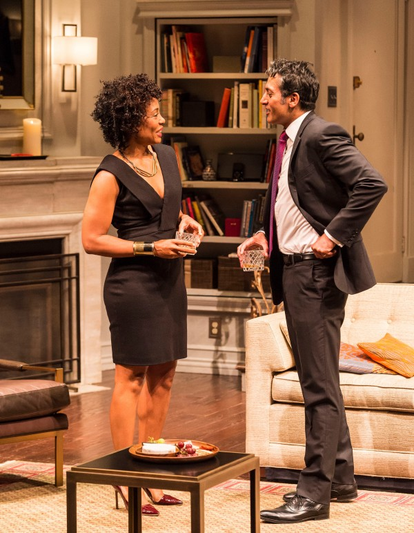 "Karen Pittman and Hari Dhillon in Ayad Akhtar''s ""Disgraced at The Mark Taper Forum."