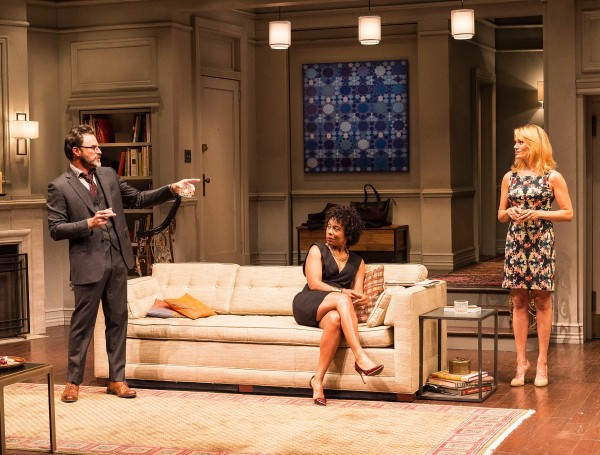 "L-R: J Anthony Crane, Karen Pittman and Emily Swallow in ""Disgraced at The Mark Taper Forum."