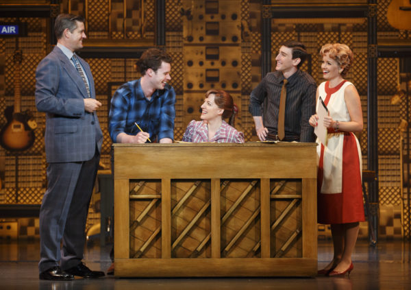 l-r, Curt Bouril, Liam Tobin, Abby Mueller,Ben Fankhauser and Becky Gulsvig in Beautiful at The Pantages Theatre.