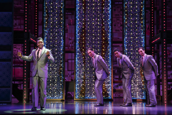 Josh A. Dawson, Paris Nix, Jay McKenzie, and Noah J. Ricketts as The Drifters in Beautiful at The Pantages Theatre.