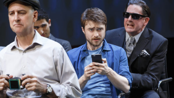 Michael Countryman, Raffi Barsoumian, Daniel Radcliffe, and Reg Rogers in Privacy. Credit: Joan Marcus