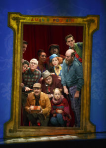 The Cast of Amélie, A New Musical, as it introduces itself to the audience at The Ahmanson Theatre.