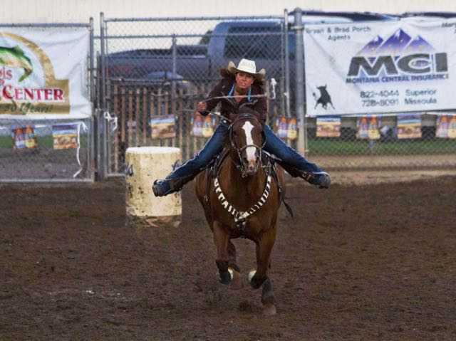 Flying eagle coming to the finish in record time at the Helmville Rodeo, Montana, 2015