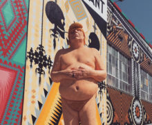 The Emperor Has No Balls ©2016 Indecline. Mural by Shrine ©2016 La Luz de Jesus Gallery. Photo ©2016 Matt Kennedy. All Rights Reserved
