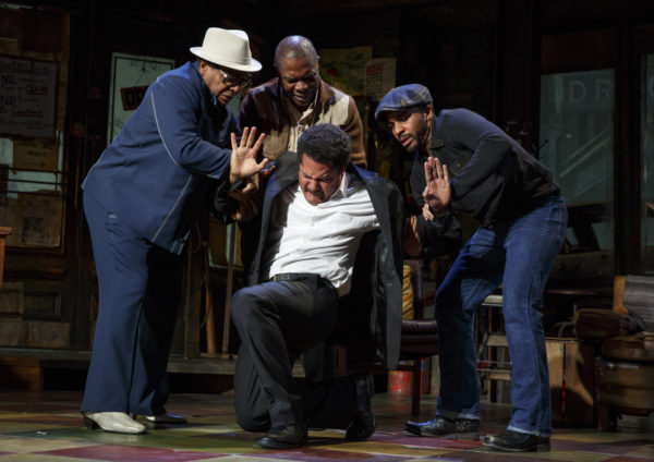 Harvy Blanks, Michael Potts, Brandon J. Dirden, and Andre Holland in Jitney, Credit: Joan Marcus