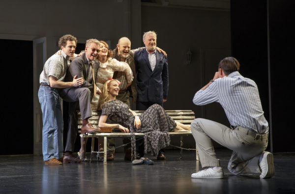 Chris Ryan, Richard Roxburgh, Susan Prior, Marshall Napier, Martin Jacobs, Toby Schmitz, and Cate Blanchett in The Present. Credit: Joan Marcus