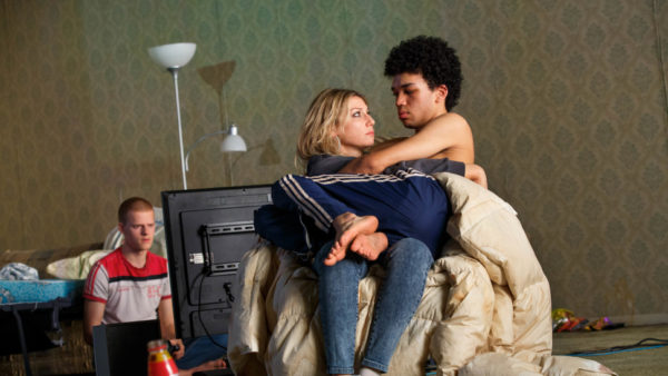 Lucas Hedges, Ari Graynor, and Justice Smith in Yen. Credit: Joan Marcus