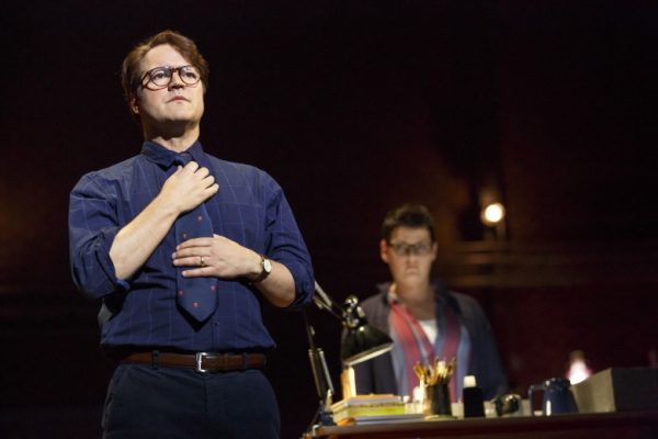 Robert Petkoff and Kate Shindle in Fun Home at The Ahmanson Theatre.