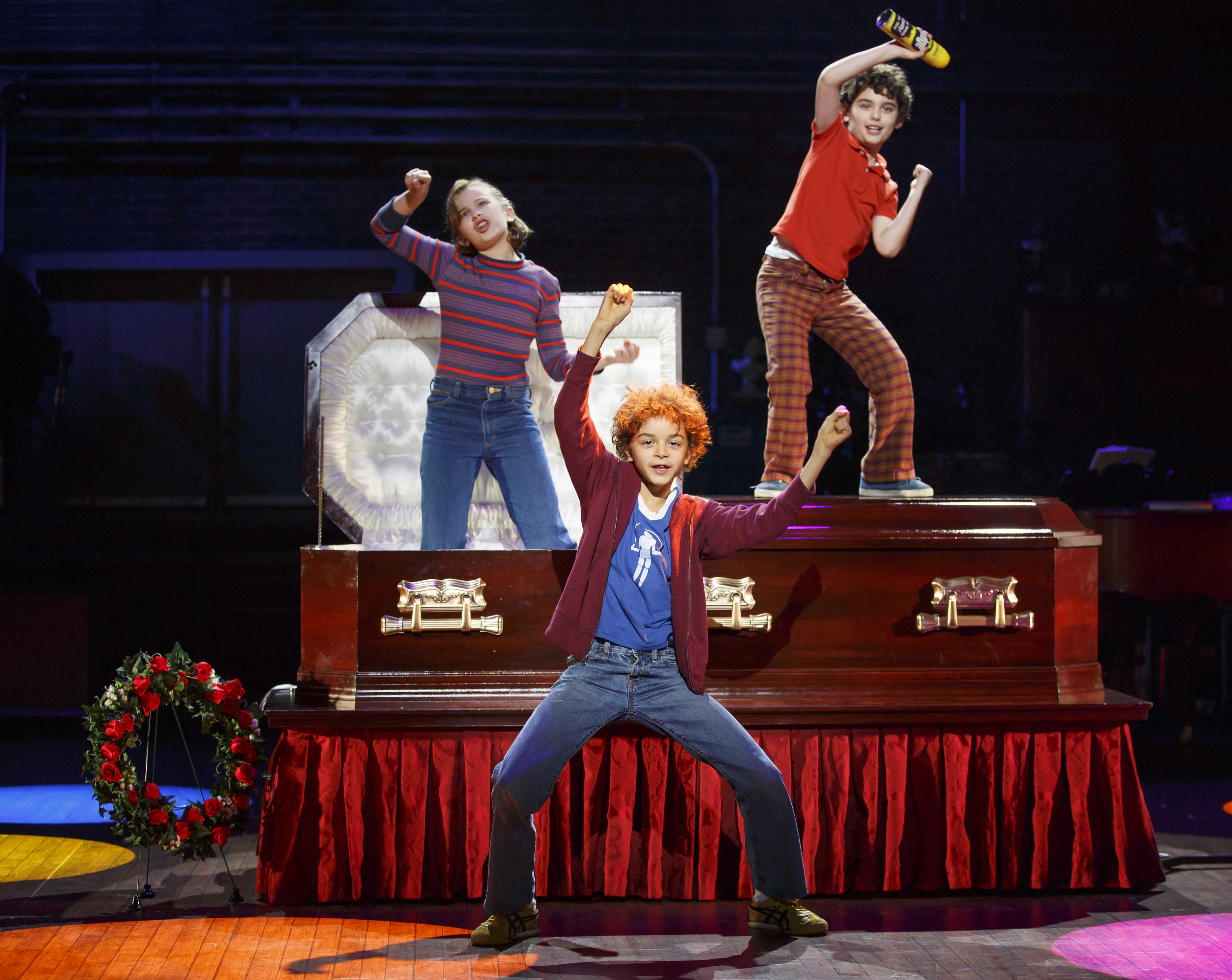 Alessandra Baldacchino, Pierson Salvador, Lennon Nate Hammond as Alison and brothers Christian and John. Fun Home©Joan Marcus-CTG