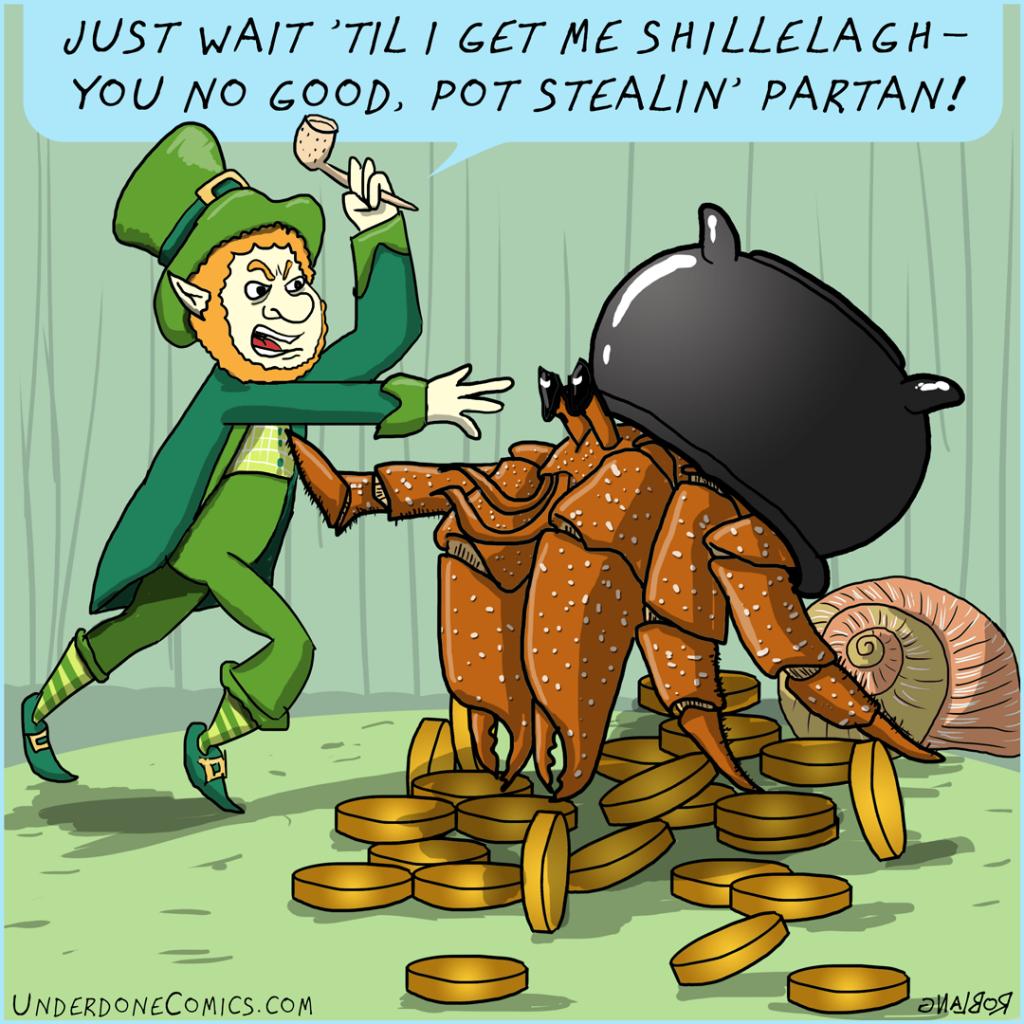 UNDERDONE-hermitcrab-vs-leprechaun