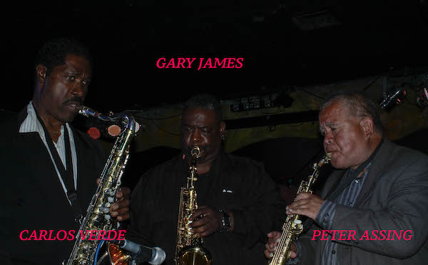 The legendary Blues Sax Trilogy featuring Carlos Verde, Gary James, and Peter Assing at The Theory on April 17, 2017. Photography by Jim Storm.