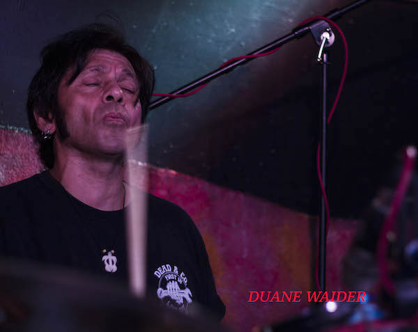 """""""The Heartbeat of the Blues"""". Drummer Duane Waider plays at The Theory on April 17, 2017 with Lucky Otis. Photography by Jim Storm."""