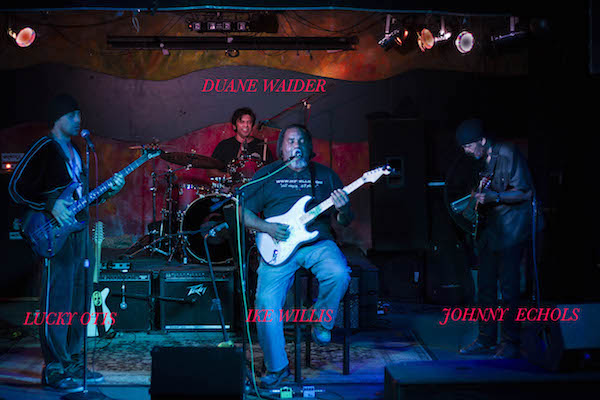 """""""No one does L. A. Blues better."""" Lucky Otis, Ike Willis, Johnny Echols, and Duane Waider play The Theory on April 17, 2017. Photography by Jim Storm."""