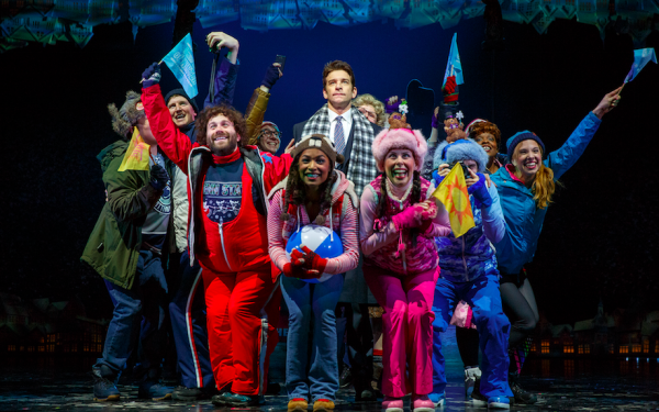 Andy Karl (center) and cast of Groundhog Day. Credit: Joan Marcus