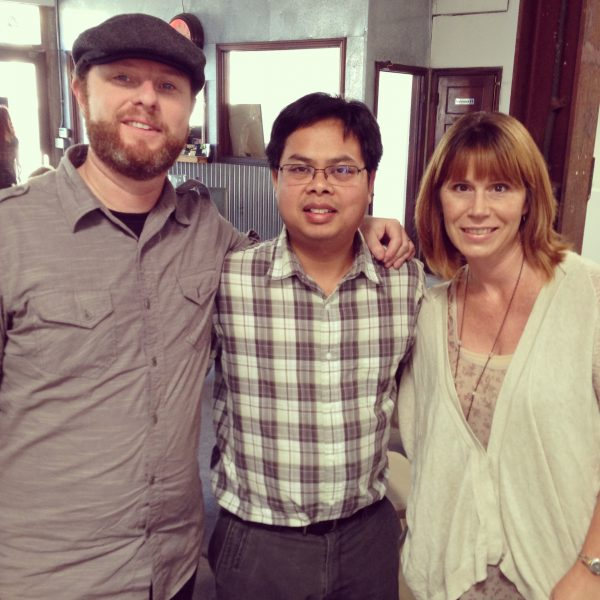 Clint Margrave, Bunkong Tuon, and Cassandra Geoghegan at the 2013 Long Beach Poetry Festival
