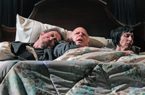 l-r, Larry Pine, Wallace Shawn and Deborah Eisenebrg in The Designated Mourner at Redcat.