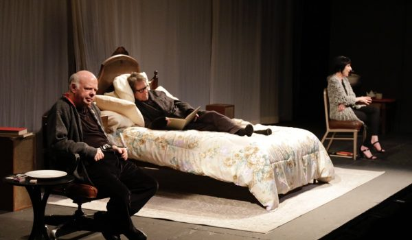 l-r, Wallace Shawn, Larry Pine, Deborah Eisenberg in The Designated Mourner at Redcat.