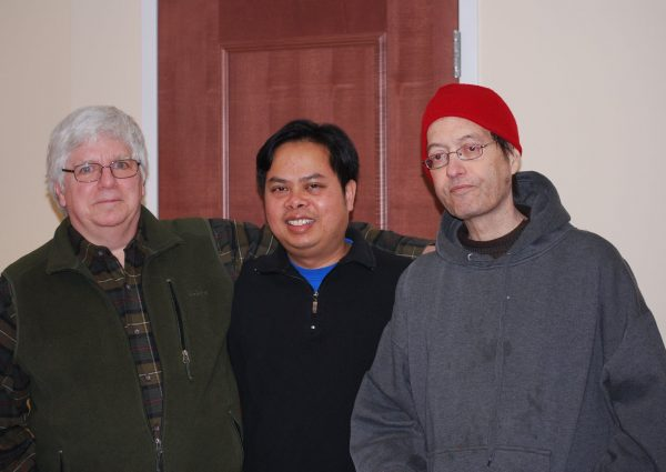 Alan Catlin, Bunkong Tuon, and Tony Gloeggler at Union College in 2016. Photo taken by Pattie Wareh.