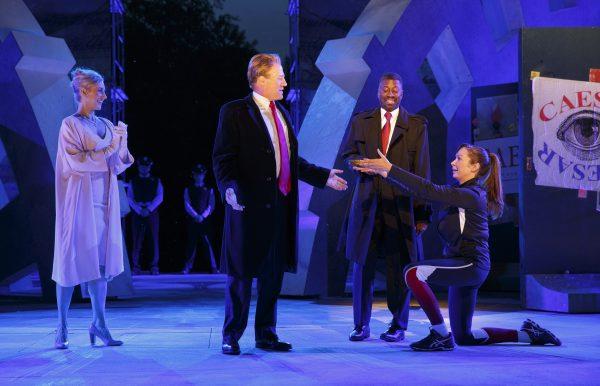 Tina Benko, Gregg Henry, Teagle F. Bougere, and Elizabeth Marvel in Julis Caesar. Credit: Joan Marcus