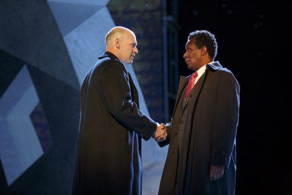 Corey Stoll and John Douglas Thompson in Julius Caesar. Credit: Joan Marcus
