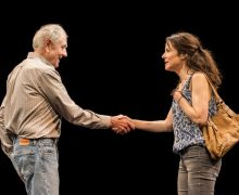 Dennis Arndt and Mary Louise Parker in Heisenberg at The Mark Taper Forum.